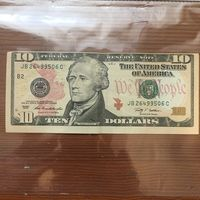 10$ Долларов . Смешение печати