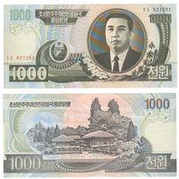 Банкнота Северная Корея 1000 вон 2006 UNC ПРЕСС