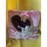 Подушка для обручальных (свадебных)колец,новая,ручная работа