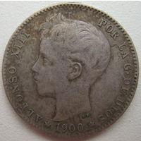Испания 1 песета 1900 г. (d)