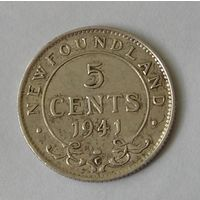 Брит. Ньюфаундленд 5 Центов 1941 Серебро (98)