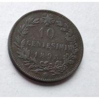 """Италия 10 чентезимо, 1893 """"BI"""" - Бирмингем  4-15-29"""