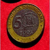 06-11 Доминиканская Республика, 5 песо 2008 г.