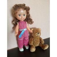 Винтажный лот. Кукла СССР в родной одежде + медведь (Германия)