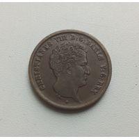 ДАНИЯ  1 ригсбанкскиллинг 1842 г.