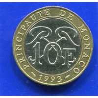 Монако 10 франков 1993 , биметалл