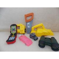 Игрушечный строительный инструмент, ,машинка, бинокль - игрушки для мальчика одним лотом