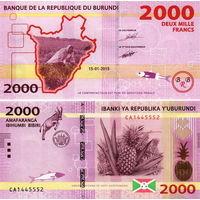 Бурунди 2000 франков 2018 год  UNC