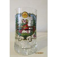 Бокал кружка пиво стекло Охота романтика лиса зайцы совы дятел 145 мм 500 мл  а9
