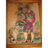 Картина вышивка 50-е гг граф и собака в деревянной раме тех времен
