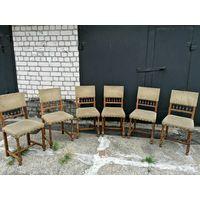 6 винтажных стульев, масив, ткань.