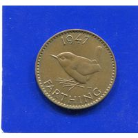 Великобритания 1 фартинг, 1/4 пенни 1947. Лот 3