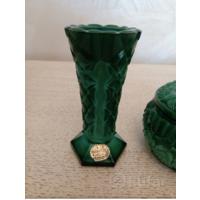 Чешская вазочка времён СССР малахитовое стекло