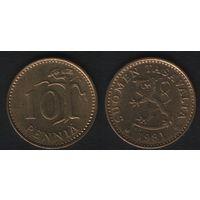 Финляндия km46 10 пенни 1981 год (K) (f39)