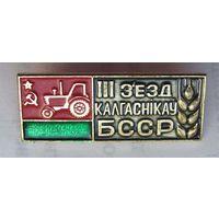 Значек  делегата  III  сьезда  колхозников  БССР  1969  года