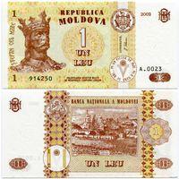 Молдова. 1 лей (образца 2002 года, P8e, UNC)