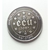 Бельгия, 5 экю , 1987г, серебро , патина