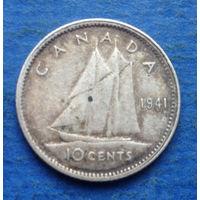Канада 10 центов 1941 Серебро