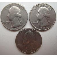 США 25 центов (квотер) 1965, 1988, 1993 гг. Цена за 1 шт.