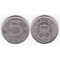 Швеция 5 крон 1987
