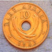 Восточная Африка Британская колония 10 центов 1943 тонкий тип