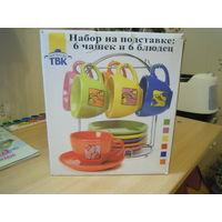 Чайный набор (6 чашек, 6 блюдец) на подставке
