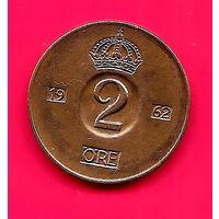 27-21 Швеция, 2 эре 1962 г. Единственное предложение монеты данного года на АУ