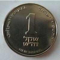 """Израиль 1 новый шекель 2007 """"Лилия"""" (с КРУЖОЧКОМ под менорой на аверсе) KM# 160a"""
