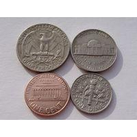 С.Ш.А. набор 4 монет KM#201b, KM#195a, KM#A192,  KM#164a
