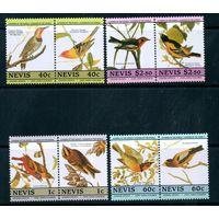 Фауна Птицы Невис 1985 год чистая серия из 8  марок в парах