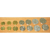 Киргизстан 2008-2009 компл 7 монет UNC 1,10,50 тийин, 1,3,5,10 сом