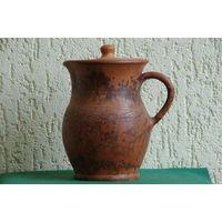 Кувшин ( жбан ) с крышкой из глины не бывший в употреблении ( использовать по назначению )