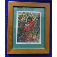 Старинная гравюра Маленькая мисс  Муфит 1920г. в деревянной раме