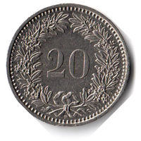 Швейцария. 20 раппенов. 1993 г.