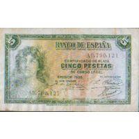 ИСПАНИЯ  5 ПЕСЕТ  1935 Г.