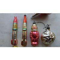 Ёлочные игрушки СССР 7 штук лотом + бонус