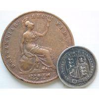 10 Британия 1 пенни 1854 год