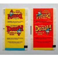 Обёртка жвачки Дональд. 2 штуки.
