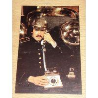 Календарик 1985 Реклама. Пожарник с телефоном ВЭФ