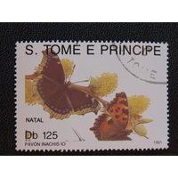 Сан-Томе и Принсипи 1991 г. Бабочки.