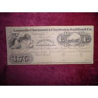 Купюра,банкнота США 1,75(1 3/4)доллараLoisville cincinnati Charleston Rail Road Co. USA 1800-е г.