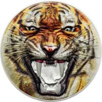 """Танзания 1500 шиллингов 2017г. """"Редкая дикая природа: Бенгальский тигр"""". Монета в капсуле; подарочном футляре; номерной сертификат; коробка. СЕРЕБРО 62,20гр.(2 oz)."""