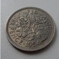 6 пенсов Великобритания 1954 г.в. KM# 903, 6 PENCE, из коллекции