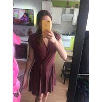 Платье, с запахом, юбка плиссе