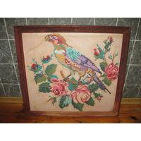Картина вышитая старая Попугай