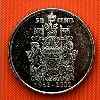 111-03 Канада, 50 центов 2002 г. 50 лет правлению Королевы Елизаветы II /1952-2002/