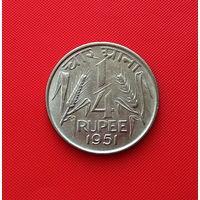 22-08 Индия,  1/4 рупии 1951. Единственное предложение монеты данного года на АУ