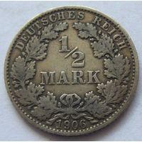Германия 1/2 марки 1906 отметка монетного двора E - Мульденхюттен