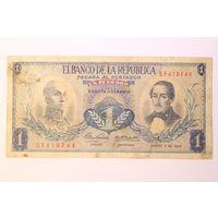 Колумбия, 1 песо  1969 год.