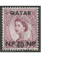 Катар. Королева Елизавета II. Надпечатка на #327 Британии. 1960г. Mi#25.